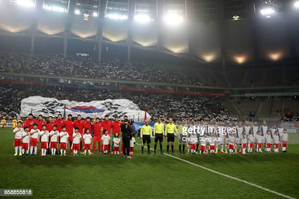 South Korea and Syria team pose during the FIFA World Cup Qualification AFC Final Group Stage match between South Korea and Syria at Seoul World Cup...