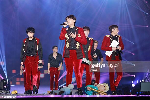 South Korea boy band Super Junior perform onstage during Super Junior Super Show 6 World Tour in Hong Kong 2014 at AsiaWorld-Expo on November 8, 2014...