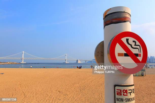 South Korea, Busan. Gwangalli Beach. No smoking