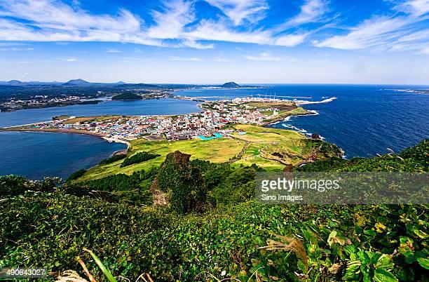 south korea cheju crater city mountain sunrise peak - jeju stock photos and pictures