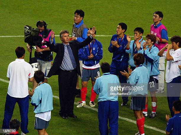 South Korea coach Guus Hiddink acknowledges the crowd after the FIFA World Cup Finals 2002 Third Place PlayOff match between South Korea and Turkey...