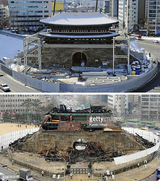 SEOUL South Korea Combination photo shows one of South Korea's most treasured structures Namdaemun or Great South Gate in Seoul taken in February...
