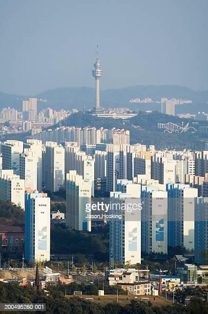 south korea, daegu, daegu tower and apartment buildings - 大邱 ストックフォトと画像