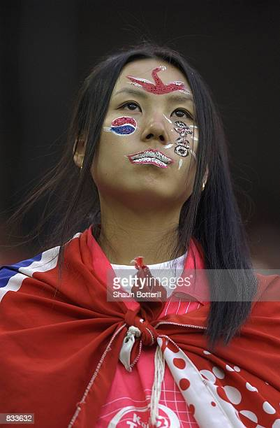 South Korea fan during the FIFA World Cup Finals 2002 Second Round match between South Korea and Italy played at the Daejeon World Cup Stadium in...