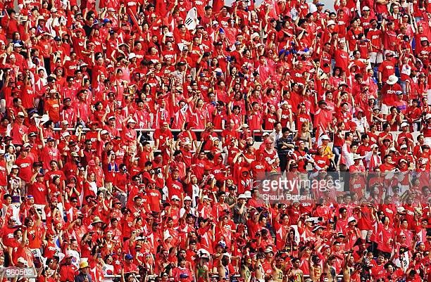 South Korea fans during the FIFA World Cup Finals 2002 Quarter Finals match between Spain and South Korea played at the Gwangju World Cup Stadium in...