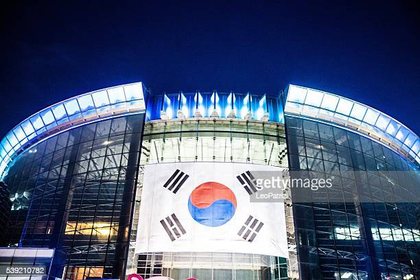 South Korea Flag on a building at night in Seoul