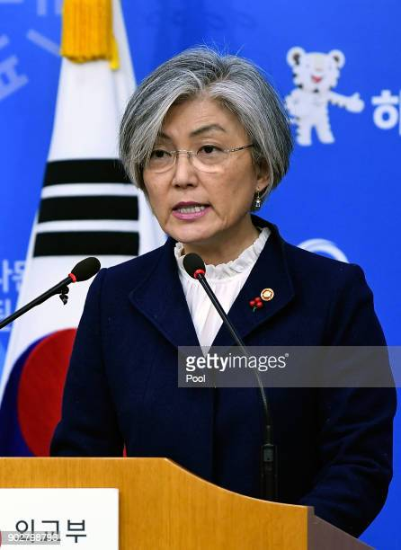 South Korea Foreign Minister Kang Kyungwha speaks during a press conference on January 9 2018 in Seoul South Korea South Korea not to seek...