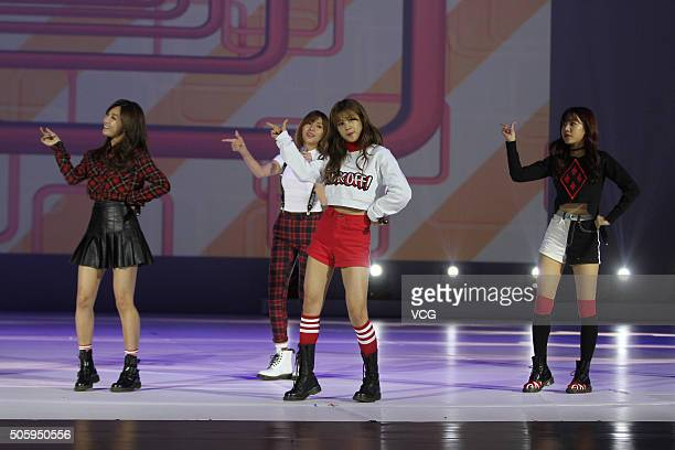 South Korea girls band A Pink attend the opening ceremony of 2016 South Korea Tourism Year at Century Theater on January 20 2016 in Beijing China