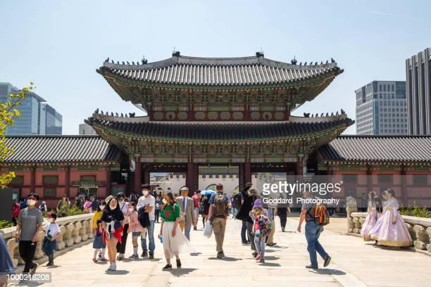 south korea: gyeongbokgung palace - gyeongbokgung stock photos and pictures