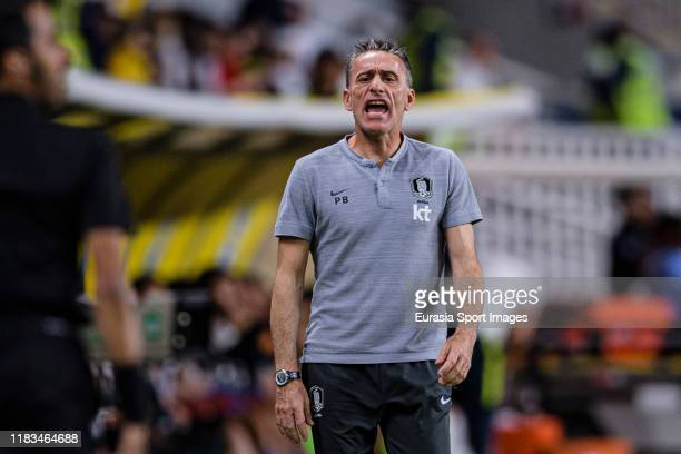 South Korea Head Coach Paulo Bento during the match between Brazil and Korea Republic on November 19, 2019 at Mohammed Bin Zayed Stadium in Abu...