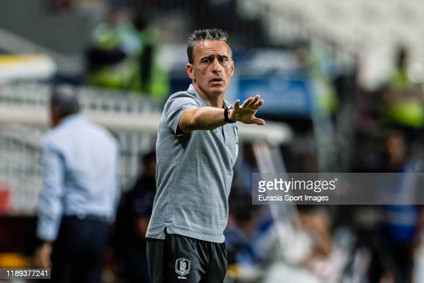 South Korea Head Coach Paulo Bento gestures during the match between Brazil and Korea Republic on November 19, 2019 at Mohammed Bin Zayed Stadium in...