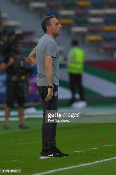 South Korea head coach Paulo Bento looks on during the AFC Asian Cup quarter final match between South Korea and Qatar at Zayed Sports City Stadium...