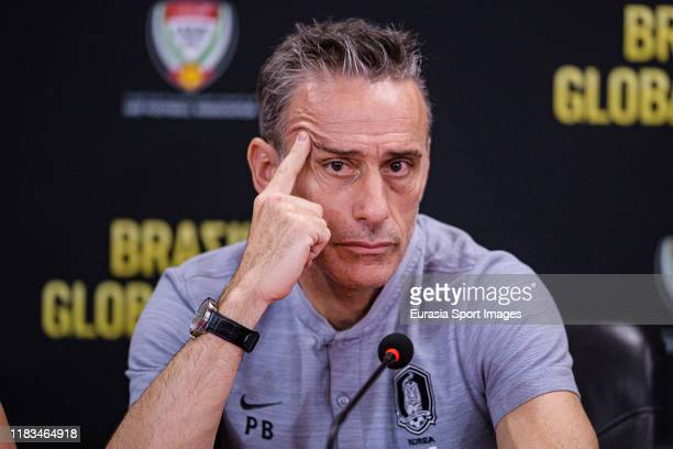 South Korea Head Coach Paulo Bento talks during the press conference during the match between Brazil and Korea Republic on November 19, 2019 at...