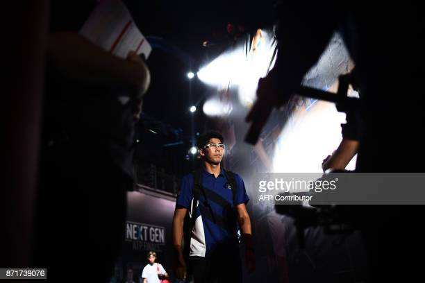 South Korea Hyeon Chung arrives to play his men's singles semi final tennis match of the first edition of the Next Generation ATP Finals in Milan on...
