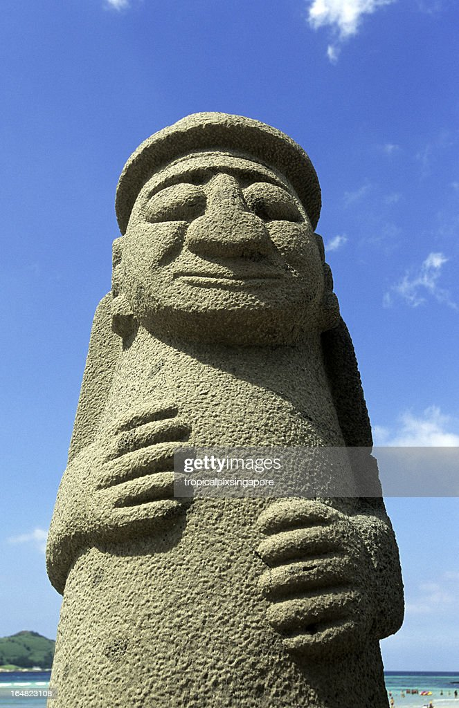 South Korea, Jeju Island, Grandfather statue. : Stock Photo