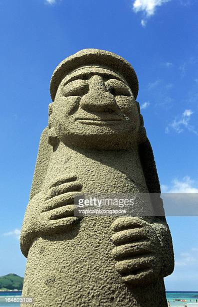 south korea, jeju island, grandfather statue. - jeju stock photos and pictures