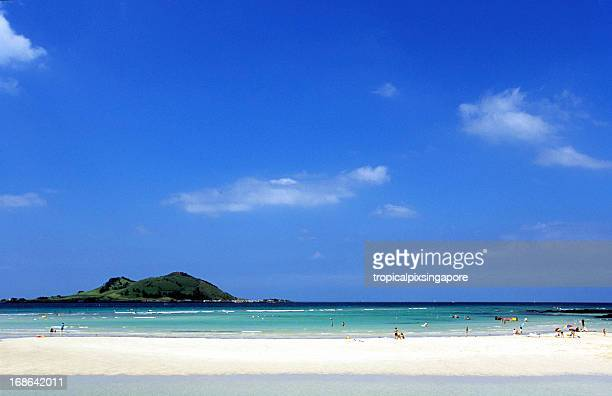 south korea, jeju island, north coast, hyeop-jae beach. - jeju stock photos and pictures