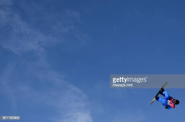 South Korea Lee Minsik competes during the qualification of the men's snowboard big air event at the Alpensia Ski Jumping Centre during the...