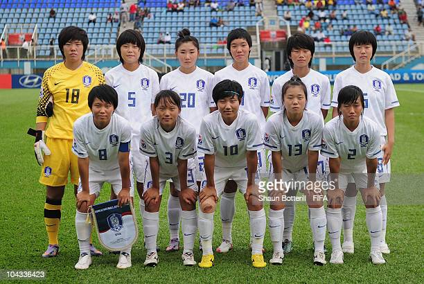 South Korea lineup before the FIFA U17 Women's World Cup Semi Final match between South Korea and Spain at the Ato Boldon Stadium on September 21...