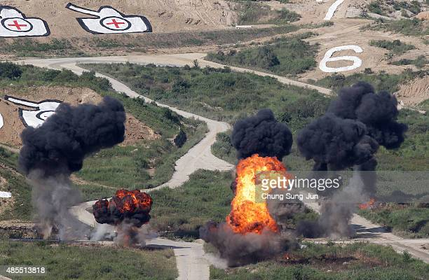 South Korea military soldiers take part in the South Korea and US joint military exercise at the Seungjin firing drill ground on August 28 2015 in...