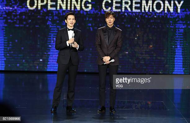 South Korea model and actor Lee Minho and Chinese singer and actor Wallace Chung attend the opening ceremony of the 6th Beijing International Film...