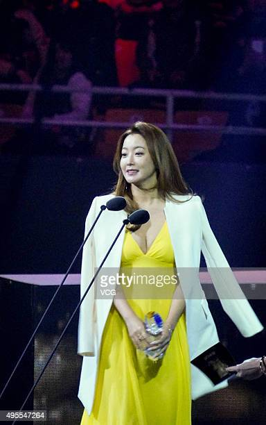 South Korea model and actress Kim Hee-sun attends the awards ceremony of 2015 Asian Influence Award Oriental Ceremony at Beijing Workers' Gymnasium...