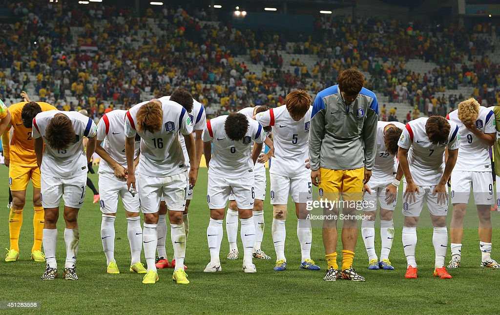 South Korea players acknowledge the fans after the 2014 FIFA World Cup Brazil Group H match between South Korea and Belgium at Arena de Sao Paulo on June 26, 2014 in Sao Paulo, Brazil.