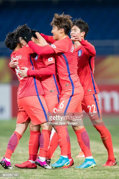 South Korea players celebrate during the AFC U23 Championship China 2018 Group D match between South Korea and Vietnam at Kunshan Sports Center on 11...