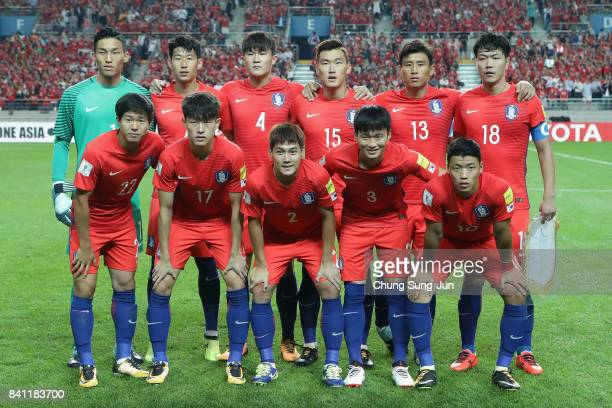 South Korea players line up for the team photos prior to the FIFA World Cup Russia Asian qualifier match between South Korea and Iran at Seoul World...