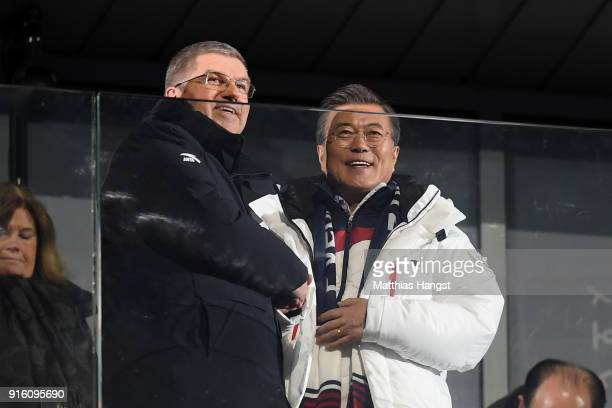 South Korea president Moon Jaein and IOC President Thomas Bach greet the stadium during the Opening Ceremony of the PyeongChang 2018 Winter Olympic...