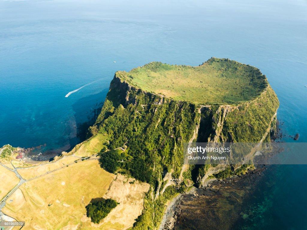 South Korea: Seongsan Ilchulbong crater in Jeju Island : Stock Photo