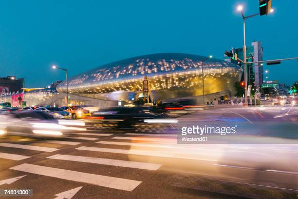 South Korea, Seoul, Dongdaemun Design Plaza by night