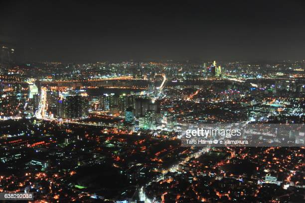 South Korea Seoul Skyscraper night city view from Seoul Tower