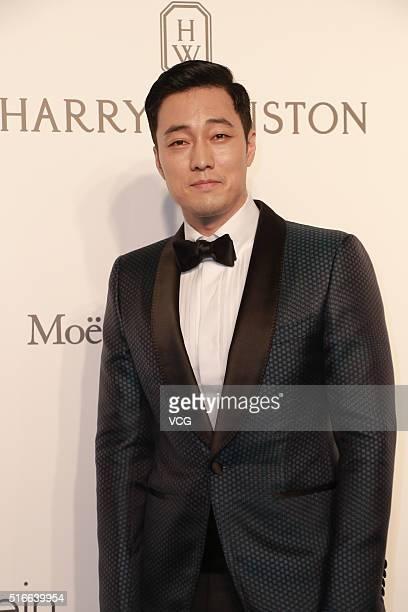 South Korea singer and actor So Ji Sub attends the 2016 amfAR Hong Kong gala at Shaw Studios on March 19 2016 in Hong Kong China
