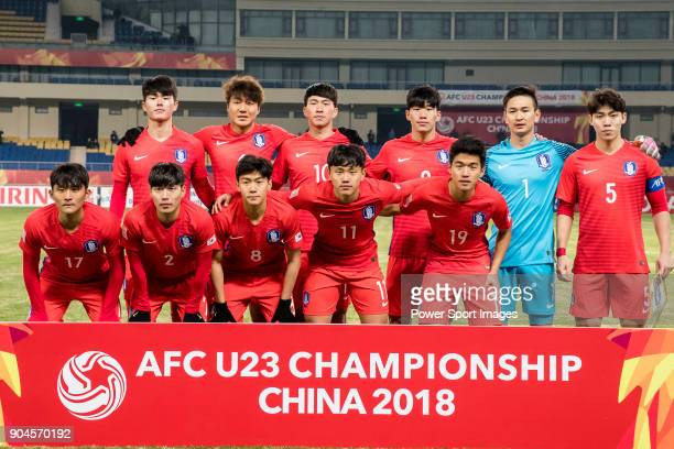 South Korea squad poses for photos during the AFC U23 Championship China 2018 Group D match between South Korea and Vietnam at Kunshan Sports Center...