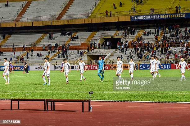 South Korea team players setp out from the playground The 2018 FIFA World Cup qualifiers football match between South Korea and Syria was a draw...
