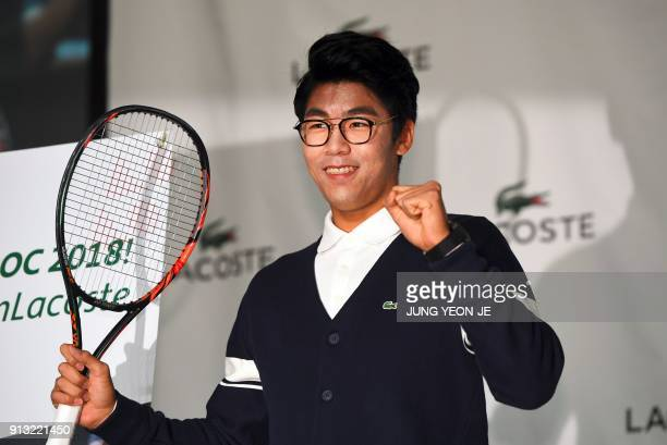 South Korea tennis player Chung Hyeon poses during a photo session at a press conference in Seoul on February 2 2018 Chung said on February 2 he was...