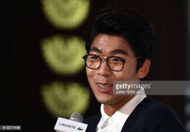 South Korea tennis player Chung Hyeon speaks during a press conference in Seoul on February 2 2018 Chung said on February 2 he was looking forward to...