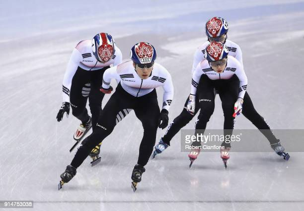 South Korea train during Short Track Speed Skating practice ahead of the PyeongChang 2018 Winter Olympic Games at Gangneung Ice Arena on February 6...