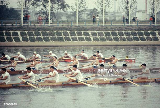 South Korea United States and Japan compete in the Men's Eight repechage at Toda Boat Course during the Tokyo Olympic on October 13 1964 in Toda...