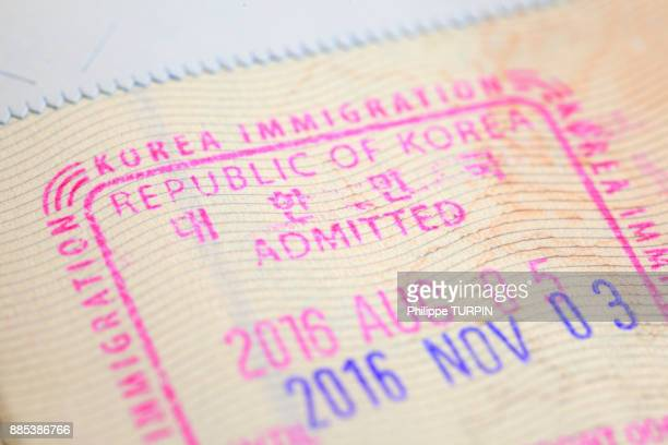 south korea visa - passport stamp stock pictures, royalty-free photos & images