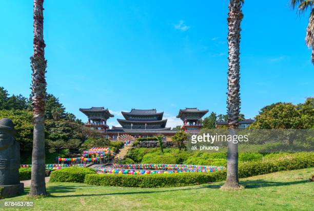 south korea: yakchunsa temple, jeju island - jeju stock photos and pictures