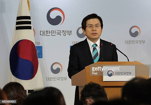 South Korean acting President and Prime Minister Hwang Kyoahn attends the New Year's press conference at the government complex on January 23 2017 in...