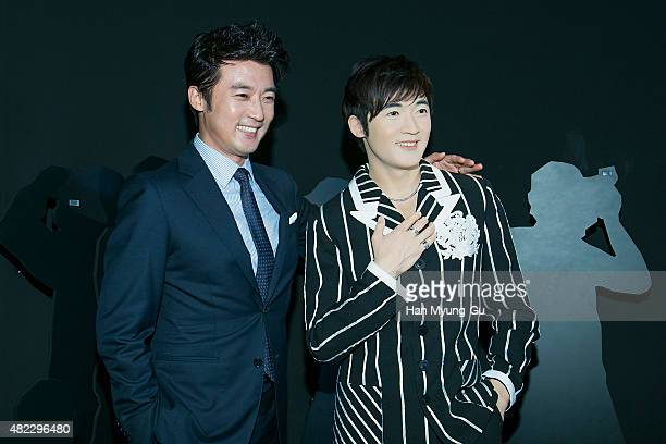 South Korean actor Ahn JaeWook unveils his waxwork the 'Grevin Museum' Seoul Opening Photocall on July 29 2015 in Seoul South Korea