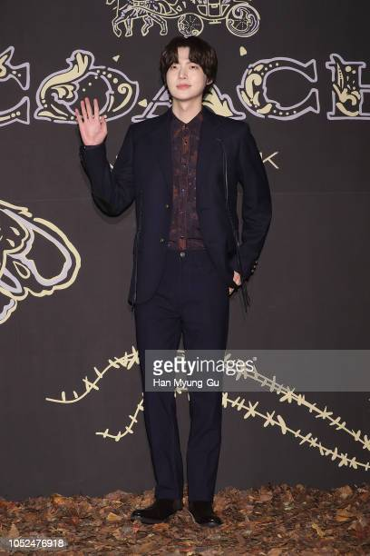 South Korean actor and model Ahn JaeHyun attends the photocall for COACH 2018 Fall Collection Launch Party on October 18 2018 in Seoul South Korea