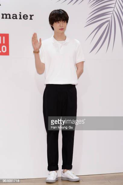 South Korean actor and model Ahn JaeHyun attends the photocall for the 'Uniqlo' tomas maier collection launch on May 31 2018 in Seoul South Korea