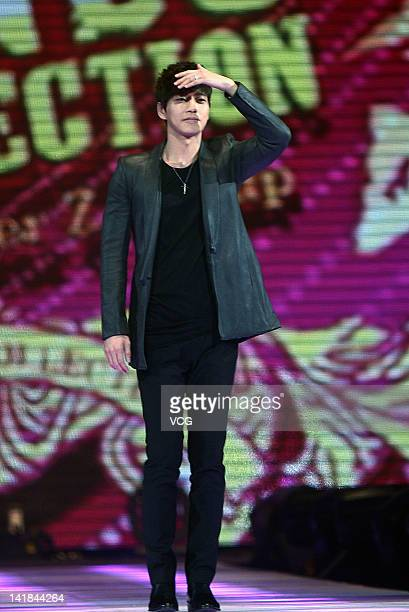 South Korean actor and model Park Hae Jin performs on the stage during the Tokyo Girls Collection at MercedesBenz Arena on March 24 2012 in Shanghai...