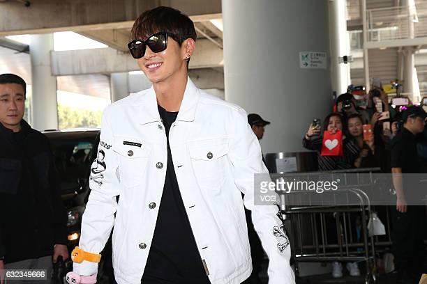 South Korean actor and singer Lee Joongi arrives at the airport on January 21 2017 in Hong Kong China