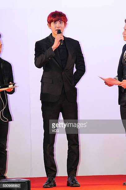 South Korean actor and singer Park Chanyeol attends the opening ceremony Korea Brand Entertainment Expo on Shenyang Liaoning Province of China