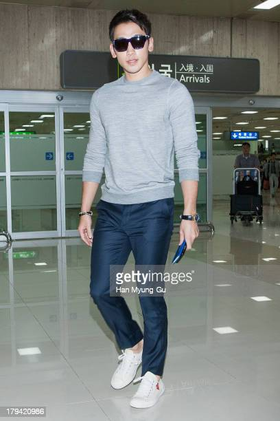 South Korean actor and singer Rain is seen upon arrival at Gimpo International Airport on September 3, 2013 in Seoul, South Korea.
